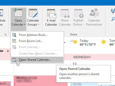 how to open shared inbox in outlook 2016